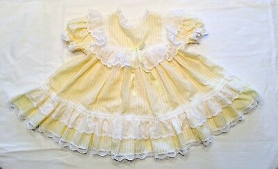 Vintage Baby Girl Toddler Dress Yellow With Ruffles, Lace, And Bow, Bryan 1985