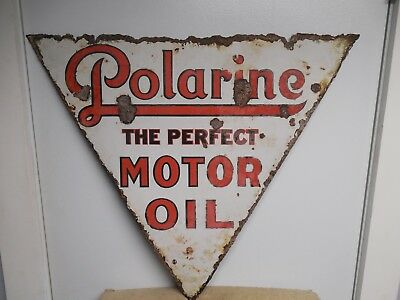 "Original Double Sided Porcelain Polarine Motor Oil Sign 27"" X 24"""