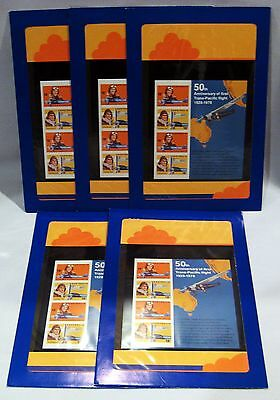 DEALER LOT OF 5 AUSTRALIA 1978 50TH TRANS-PAC FLIGHT SOUVENIR SHEETS (SC# 867a)