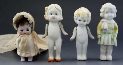 Antique Group 4 Bisque Porcelain Japanese Frozen Charlotte Piano Baby Figurines