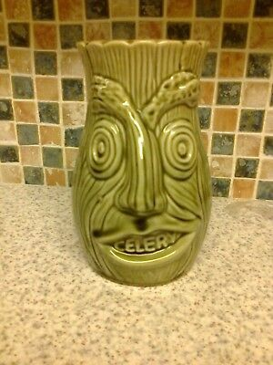 Vintage Pottery Celery Jar 2 SIDED FACE JAR CELERY PRINTED IN THE MOUTH