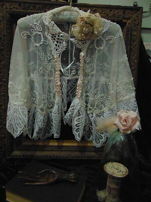 Wonderful Vintage Beaded Capelet Shawl German Lace French Brocante Shabby Chic
