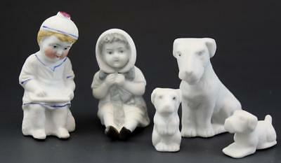 Antique Group German Bisque Porcelain Piano Baby Figurines & Dogs