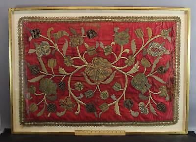 Antique 18thC Silk Gold & Silver Threads Embroidery Tapestry, NR