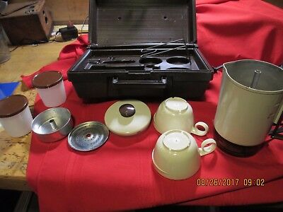 EMPIRE HOME N AWAY  Coffee  Maker Travel Camp Boat Kit in case USA Vtg