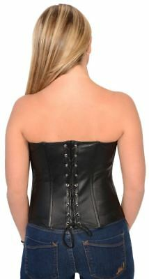 Milwaukee Leather Ladies Lambskin Buckle Front Studded Corset Black