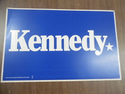 Vintage KENNEDY US Senate Re-Election Campaign Sign Poster Edward Ted or Robert
