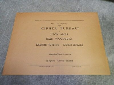 1938 CIPHER BUREAU Sack or Bag for Press kit, or Photos or poster~RARE
