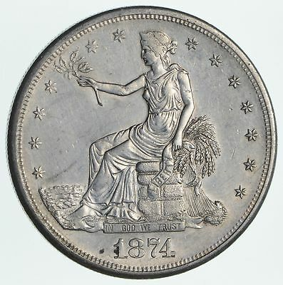 1874-S Seated Liberty Silver Trade Dollar Near Uncirculated *2734