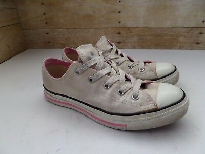 93781da9c2d0 Converse All Star Kids Girl s White Pink Canvas Double Tongue Lace Shoes  Youth 3