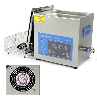 10L Industry Stainless Steel Heating Ultrasonic Cleaner Timer Digital Heater USA