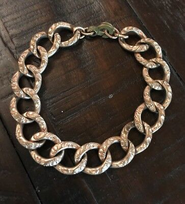 Victorian Rose Gold Filled Repouse Chain Link Bracelet Rare Size