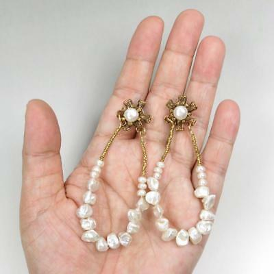 Jan Michaels Antique Brass Flower Top White Pearl Heishi Large Hoop Earrings