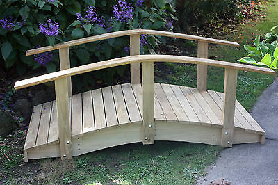 Handmade Garden Pond Bridge #1 - 1.5m Bridge with Curved Handrail