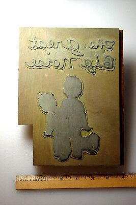 """VTG Printing Block Plate """"The Great Big Noise"""" Ruth Cromer Weir Childrens Book"""