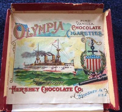 WOW1890s Hershey Chocolate OLYMPIA CIGARETTES BOX-STUNNING LITHO STEAMSHIP LABEL