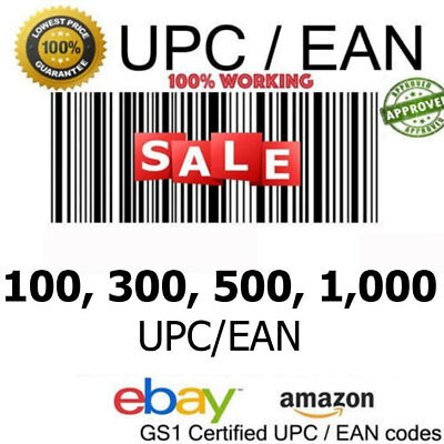 100-300-500-1,000 UPC EAN Numbers Barcodes Bar Code Number ebay Amazon Lifetime