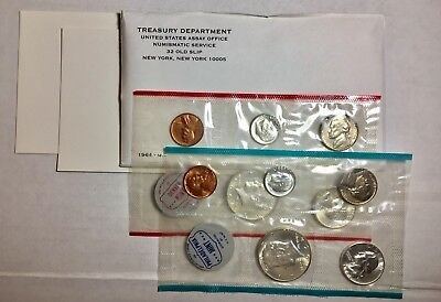 1964 US Mint Set Of Uncirculated Coins. Philadelphia & Denver Coins 90% Silver