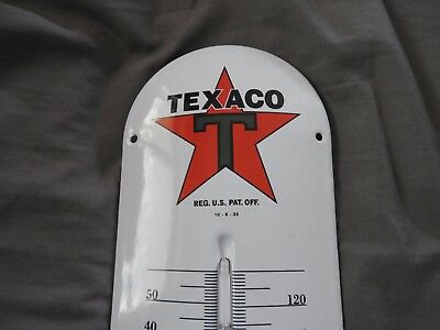 Large Porcelain Texaco Gas/Oil Service Station Thermometer Man Cave Office Sign