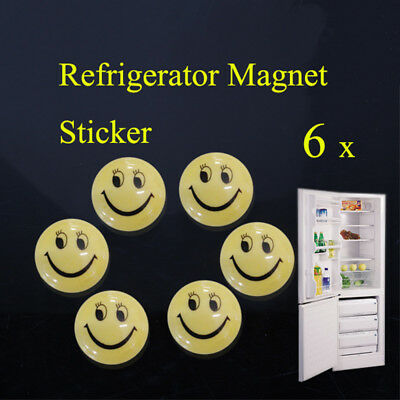 Round Cartoon Smile Smiley Face Refrigerator Sticker Fridge Magnet Toy 6 Pcs Hot