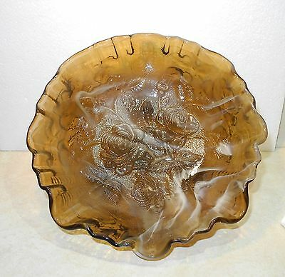 Imperial Glass Rootbeer & White Slag Ruffled Footed 8 inch Flower Bowl