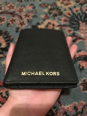 New! MICHAEL KORS JET SET TRAVEL PASSPORT CASE LEATHER BLACK WALLET NWT