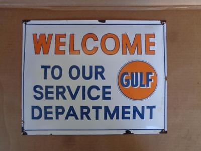 Gulf Gas Porcelain Sign Welcome To Our Service Department Gas Station Sign