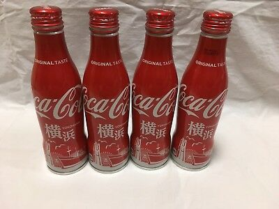 Empty Coca Cola Can Japan Edition YOKOHAMA Likited Package Model 4pcs