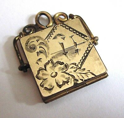 Antique Victorian Bliss Brothers Gold Filled Engraved Photo Locket Pendant