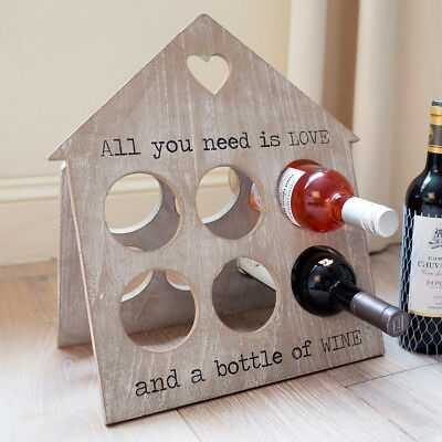 All you need is love - rustique 6 bouteilles Plateau - Marron/blanc zrjheart375