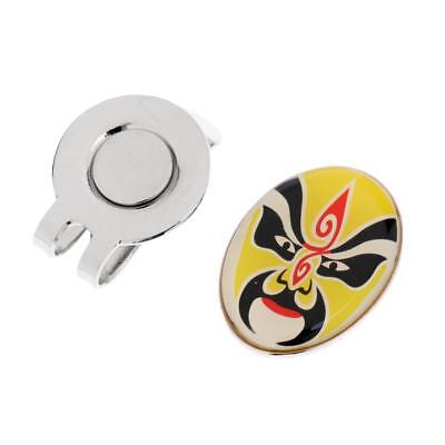 Magnetic Visor & Hat Clip with Golf Ball Marker Peking Opera Mask - Yellow