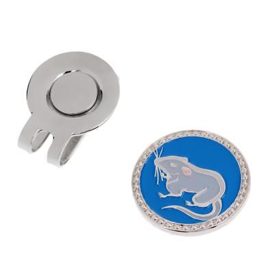 Zodiac Mouse Alloy Magnetic Hat Clip with Golf Ball Marker for Golf Cap