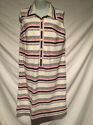 Vtg Dress XL 60s 70s Geometric Stripe Mid Length Sleeveless White Button Collar
