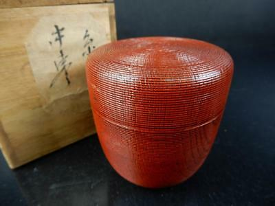 J2232:Japanese Wooden Lacquer ware Ring line sculpture TEA CADDY Natsume Chaire