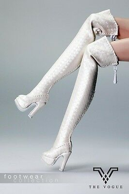 B1009-05 The Vogue White Leather Fashion Long Boots for Barbie Fashion Royalty A