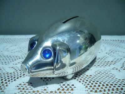 Jhs Denmark Silver Plated Small Piggy Bank - Blue Eyes - Has Key - Good Cond