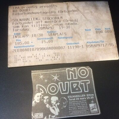 No Doubt - Ticket from No Doubt Sweden Gig March 1997 + advert