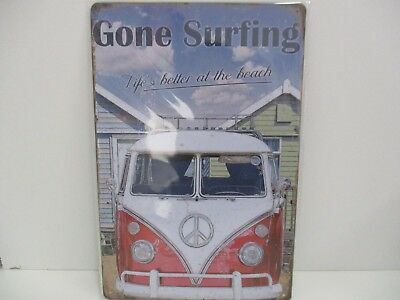 """PLAQUE TOLE 20 x 30 cm DECORATION """"BUS VW GONE SURFING"""" Neuf Emballage."""