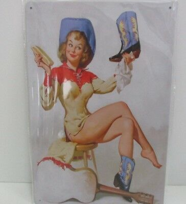 """PLAQUE TOLE 20 x 30 cm DECORATION """"PIN UP COW BOYS"""" Neuf Emballage."""