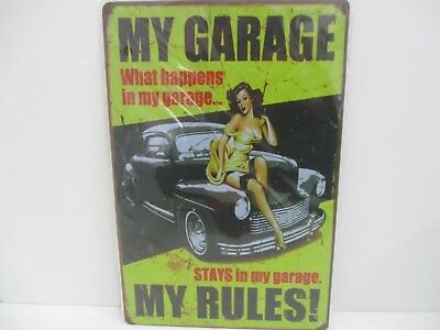 """PLAQUE TOLE 20 x 30 cm DECORATION """"MY GARAGE PIN UP MY RULES"""" Neuf Emballage."""