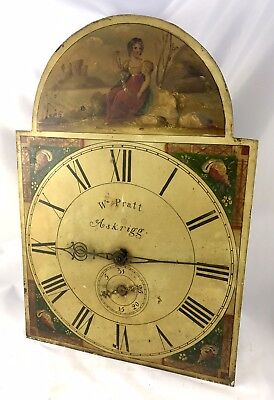 Lovely Antique Long Case Grandfather Clock Dial And Movement Wm Pratt Askrigg