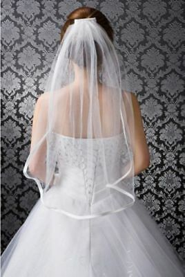 White Ivory  1 Layer Stock Elbow Short Tulle Satin Hem Bridal Veil With Comb