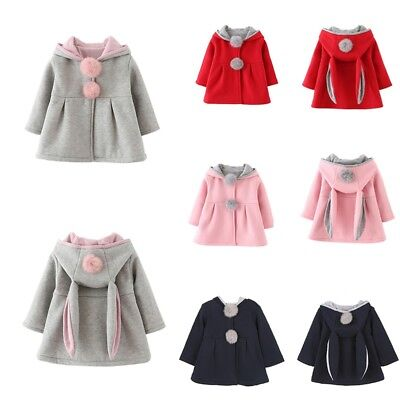 Winter Toddler Baby Girls Bunny Ears Hooded Coat Outerwear Warm Jacket UK