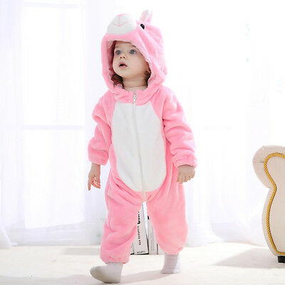 Cartoon Flannel Fancy Dress Baby Animal Jumpsuit Clothes Total Length 65cm Pink