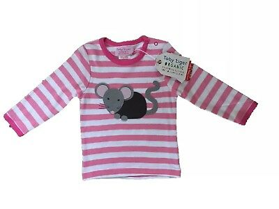 *Toby tiger* Pink Mouse Stripe Long Sleeved Top (1-2 Years) BNWT RRP £20.99