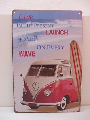 """PLAQUE TOLE 20 x 30 cm DECORATION """"BUS VW LIVE IN THE... """" Neuf Emballage."""