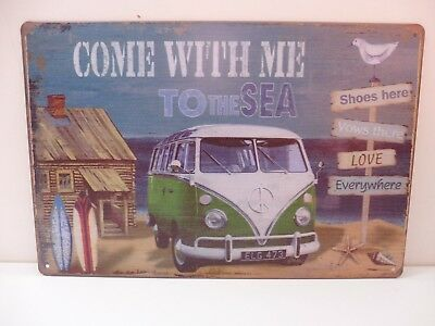 """PLAQUE TOLE 20 x 30 cm DECORATION """"BUS VW COME WITH ME TO THE SEA"""" Neuf Emball"""