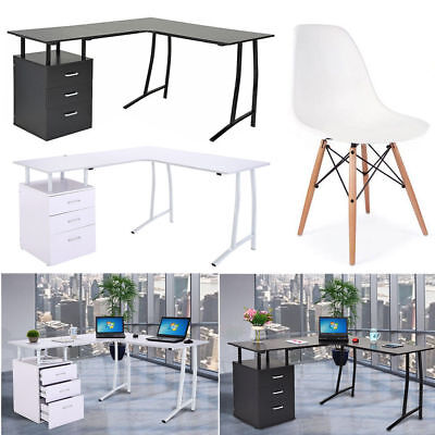 L-Shaped Corner Computer Desk PC Table With 3 Drawers and Chairs Home Office UK