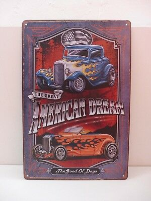 """PLAQUE TOLE 20 x 30 cm DECORATION """"THE GREAT AMERICAN DREAM"""" Neuf Emballage."""