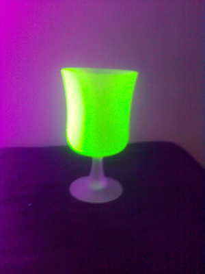 Frosted uranium glass goblet !